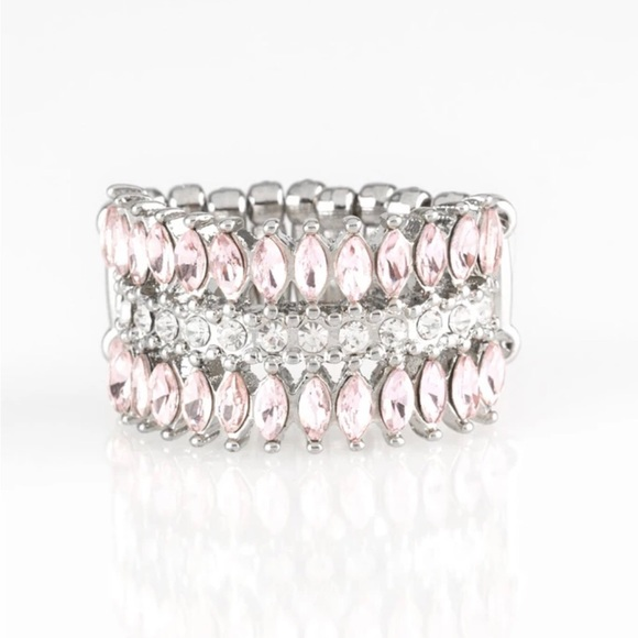 J10 Ring > Stretch band > pink > white rhinestones